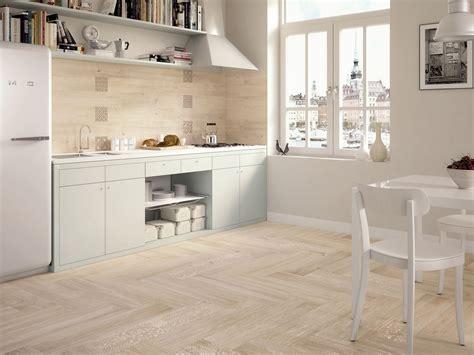 white kitchen light floors wood look tiles 430 | light wooden tiled kitchen splashback and floor wood floor tiles white