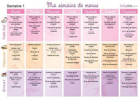 recette de cuisine de regime menus pour mincir sur une semaine ou pour un mois de regime