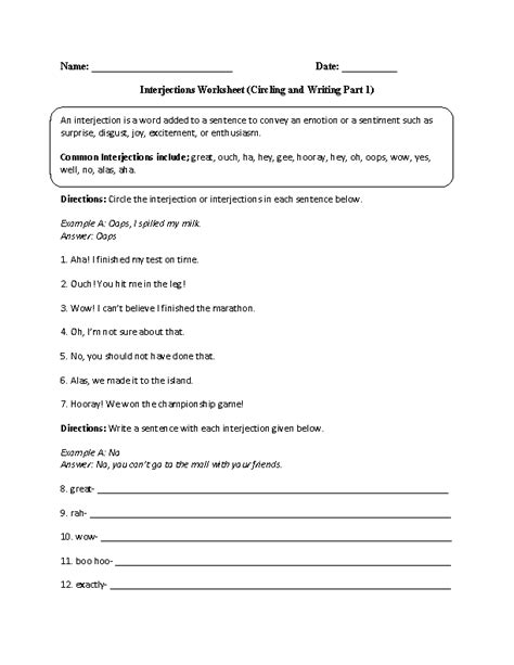 interjections worksheet circling and writing part 1