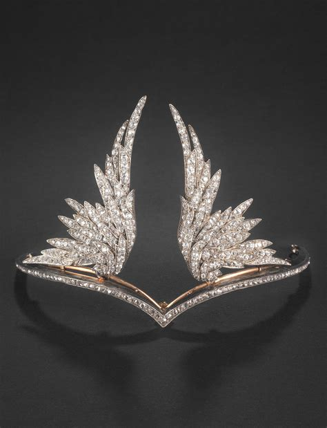 chaumet  belle epoque silver gold  diamond tiara