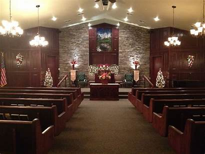 Church Interior Wood Middle Rock Decorations Altar