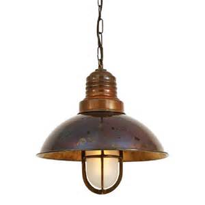 nautical ship deck ceiling pendant light in antique brass with chain