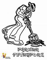 Tractor Coloring Pages Farmer Printable Tractors Pitch Fired Yescoloring Fork Colorful Easy Print Forks Colouring Gritty Drawing Farm sketch template