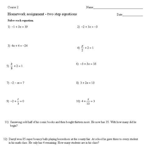 two step equations quiz worksheet breadandhearth