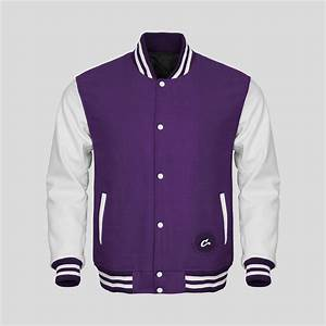 white faux leather sleeves purple wool varsity jacket With customize your own letter jacket
