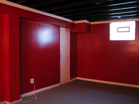 Black Ceiling Red Walls, Basement Ceiling Painted Black