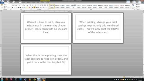 noteindex cards word template youtube