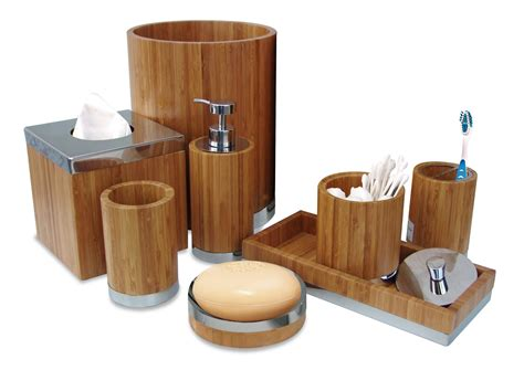 Designer Bathroom Sets by Bamboo Bathroom Accessories Set Matching Pieces Include