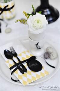 Tischdeko Schwarz Weiß Ideen : sterliche tischdeko in zartgelb weiss schwarz diy bestecktasche casa di falcone ~ Bigdaddyawards.com Haus und Dekorationen