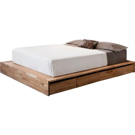 Wood Low Platform Queen Size Bed Frame With Storage