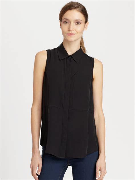 black sleeveless blouse theory duria silk sleeveless blouse in black lyst