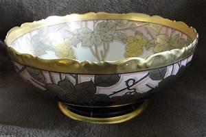 Antique T V Limoges France Hand Painted Porcelain Footed Punch Bowl In A Grape And Leaf Pattern