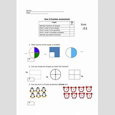 Year 2 Fractions Assessment By Sarahwhitneystead  Teaching Resources