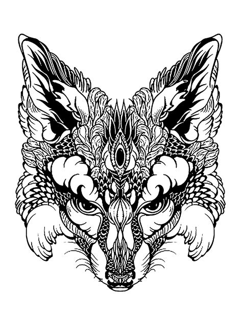 fox head foxes adult coloring pages
