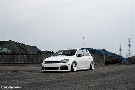 stanced volkswagen golf in white yasunobu s usdm style vw golf