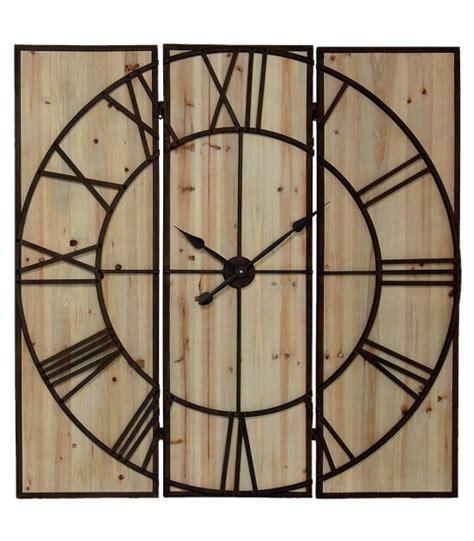grande horloge murale grande horloge murale en bois et m 233 tal marron rouille 115cm wadiga