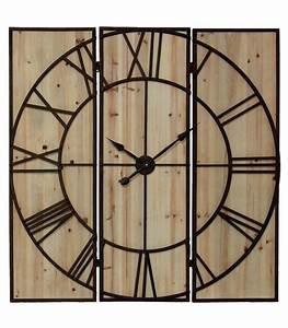 Horloge Murale Bois : grande horloge murale en bois et m tal marron rouille 115cm wadiga ~ Teatrodelosmanantiales.com Idées de Décoration