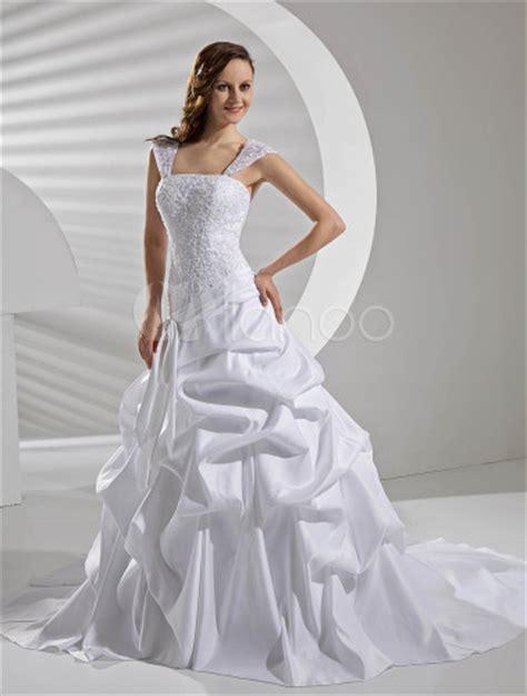 Draped Wedding Dresses - gown lace satin draped wedding dress milanoo