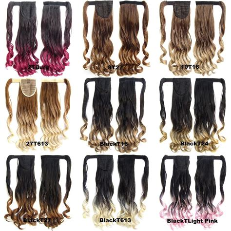 Clip In On Dip Dye Ombre Wavy Curly Ponytail Hair