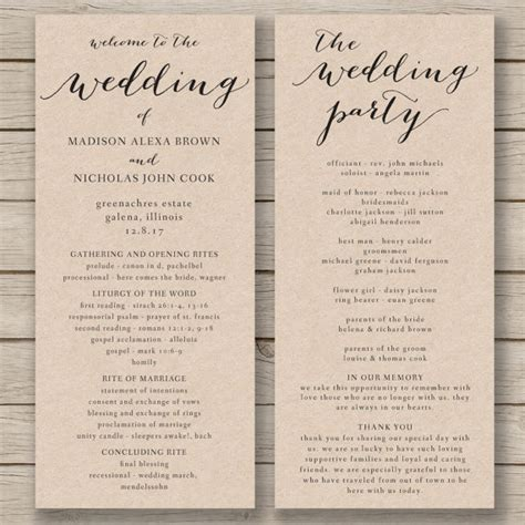 wedding program template printable by hopestreetprintables rustic wedding