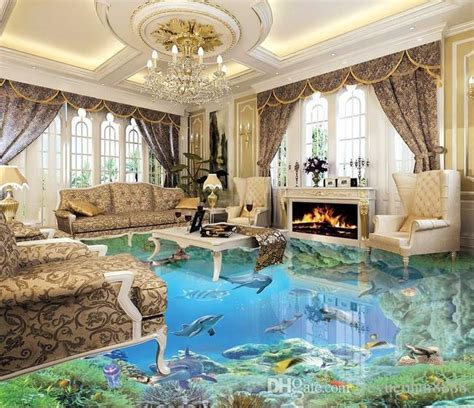 custom  stereoscopic living room wallpaper  floor