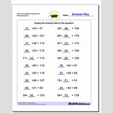 Addition Prealgebra Worksheets