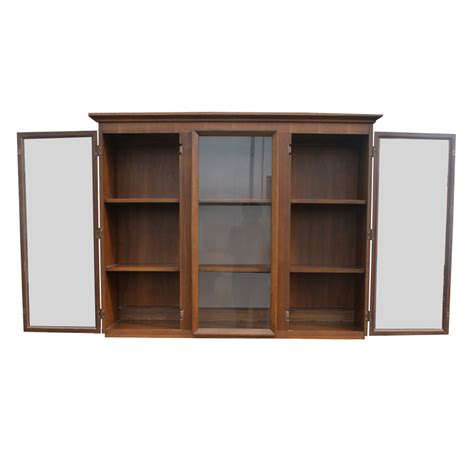 Ebay China Display Cabinet by Vintage Walnut Glass Bookcase Hutch China Cabinet