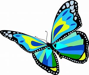 Clipart - Flying Blue Butterfly
