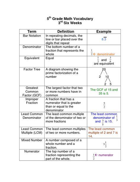 worksheet math vocabulary worksheets hunterhq free