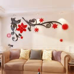 home interior pictures wall decor 3d stereo flower vine acrylic wall stickers home decor diy mirror wall sticker tree
