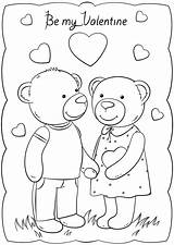 Valentine Coloring Valentines Cards Printable Template Happy Bears Templates Bear Crafts Drawing Adults Duathlongijon sketch template