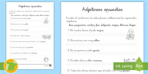 * New * Ficha De Actividad Los Adjetivos Opuestos Opuestos