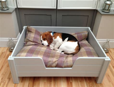 Luxury raised wooden dog bed, with grey tongue & groove ...