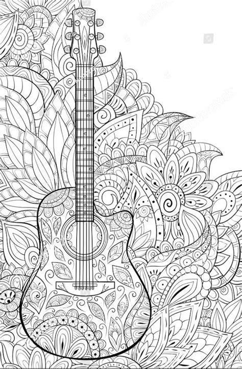 guitar coloring page   floral background zen art