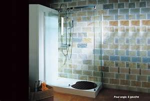 paroi de douche avec receveur mi bois elvira With porte de douche coulissante avec ensemble salle de bain simple vasque l 80 cm
