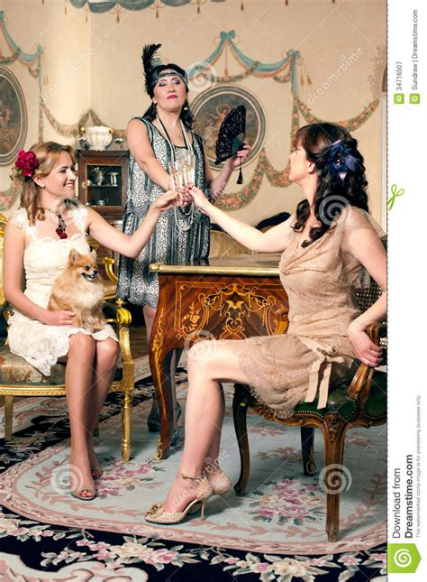 Three Women Partying Retro Style Royalty Free Stock Photography   Image: 34716507