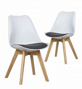 Chaises LUMA Lot De 2 Chaises Design Scandinave BLANC