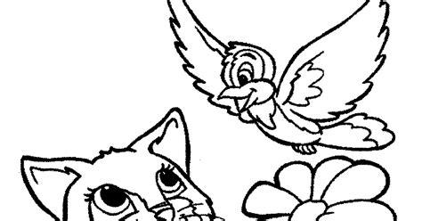 mewarnai gambar kucing dan burung