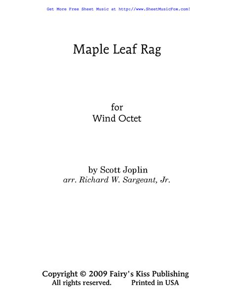 Pdf (digital sheet music to download and print), interactive sheet music (for online playing, transposition and printing), midi and mp3 audio files (including mp3 music accompaniment tracks to. Free sheet music for Maple Leaf Rag (Joplin, Scott) by Scott Joplin