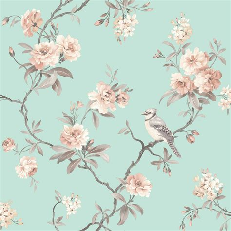 shabby chic wallpaper b q duck egg blue bird wallpaper joy studio design gallery best design