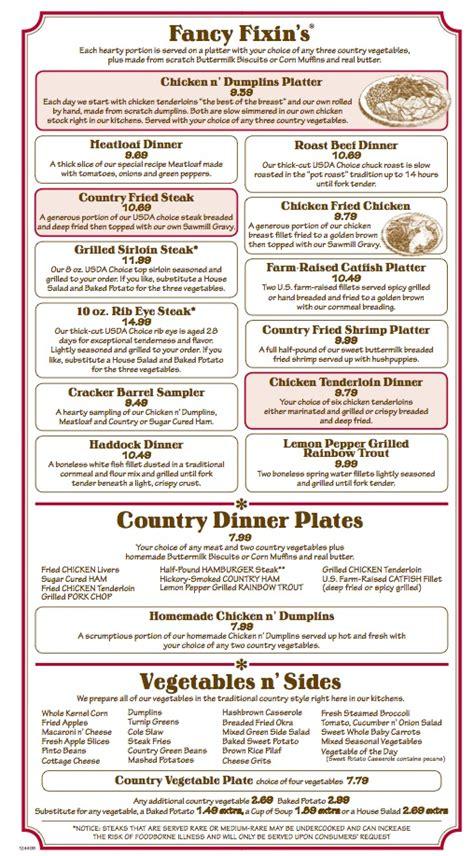 menu  cracker barrel  country store  sw