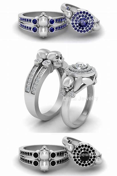 Rings Jewelry Skull Gothic Engagement Ring Diamond