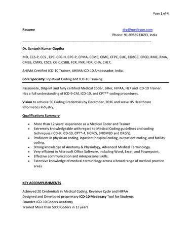 Hl7 Resume by Coding Trainer Resume Authorstream