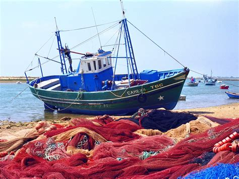 Boats Net I by Fishing Boat With The Nets Outside Portugal Postcard