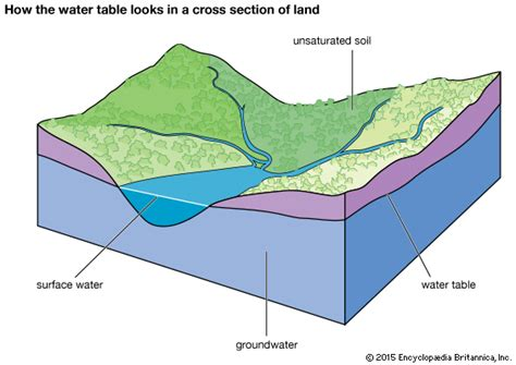 how deep is the water table where i live water table hydrology britannica com