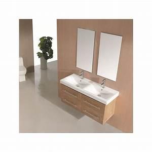 meuble salle de bain double vasque bois naturel sd815hbn With salle de bain double vasque bois
