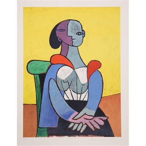 sur chaise pablo picasso femme a la chaise sur fond jaune 9 c