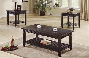 Deep espresso finish 3pc stylish coffee table set w drawers for Coffee table sets with drawers