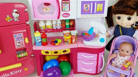 baby doll surprise eggs kitchen cooking play