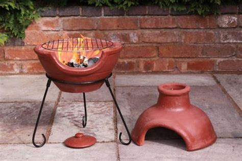 Clay Chimenea And Barbeque Combined In Red, Green Or